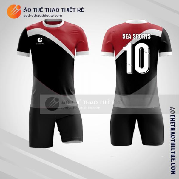 Mẫu áo bóng đá màu đỏ đen V1395